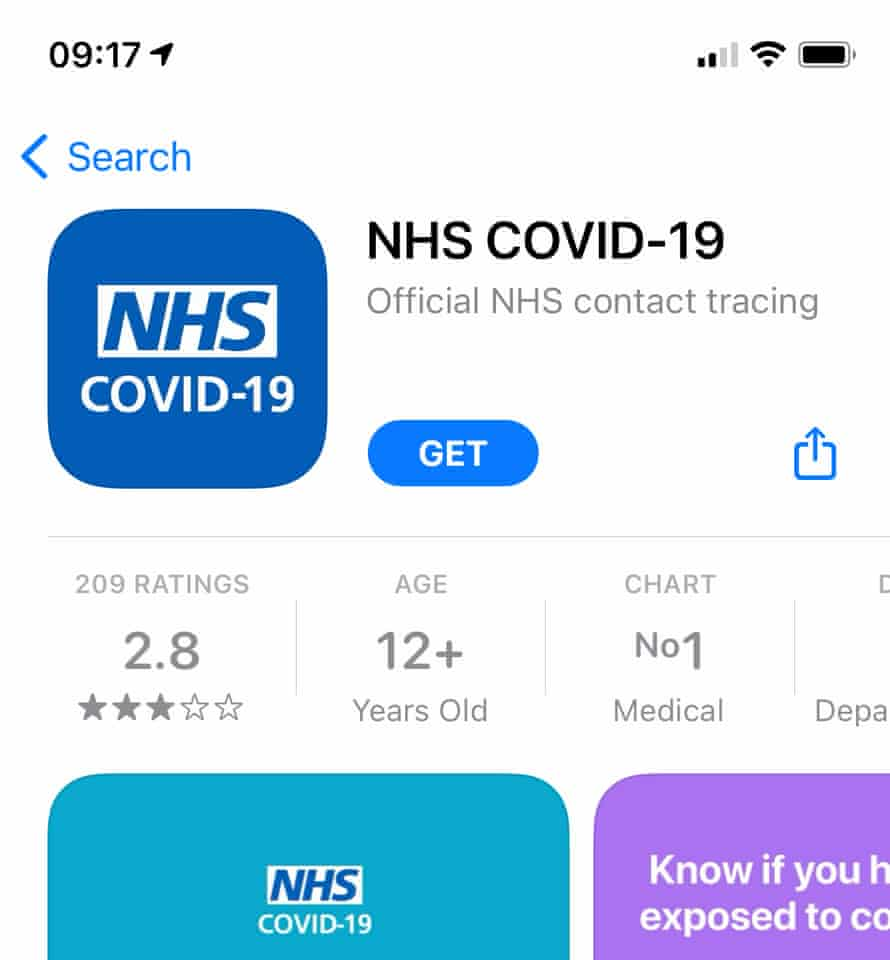 This is the official NHS Covid-19 contact-tracing app for England and Wales in the Apple App Store.