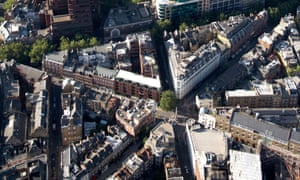 Aerial view of Seven Dials, Covent Garden, London, UK.