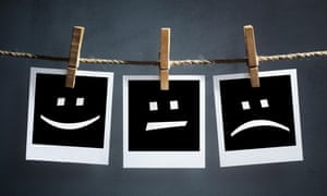 Happy, sad and neutral emoticons on instant print photographs