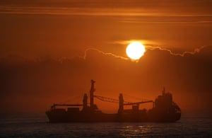 A cargo ship off the coast of Tynemouth, UK