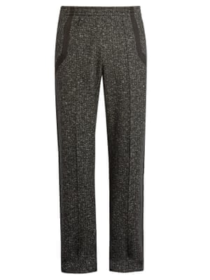 flecked wool tailored track pants
