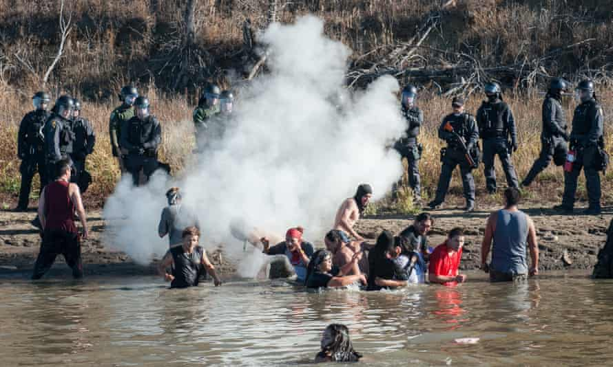 Police officers have used tear gas against protesters on the Standing Rock reservation.