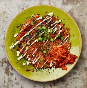 Ottolenghi-style prawn and kimchi okonomiyaki.