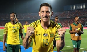 Dean Furman celebrates South Africa's last-16 victory over the hosts Egypt at the 2019 Africa Cup of Nations