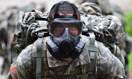 US soldier during a competition to test individual skills at a US army base in Uijeongbu, north of Seoul.