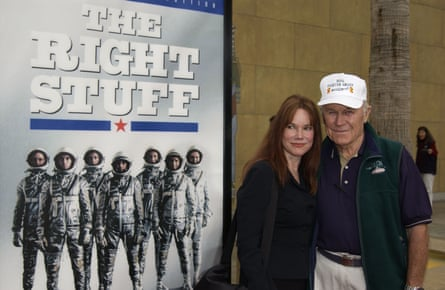 Chuck Yeager and actor Barbara Hershey at a 20th anniversary screening of The Right Stuff in Hollywood in 2003. Hershey played his then wife, Glennis, in the film.