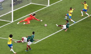 Willian of Brazil assists his teammate Neymar, right, to score.
