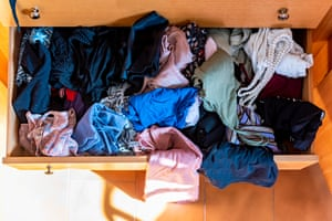 A messy clothes drawer