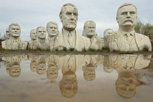 The busts of 43 US presidents in Croaker, Virginia, US