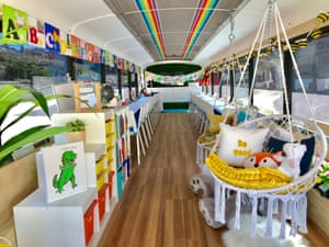 A bus converted into a library and classroom as part of Schools On Wheels program by California's Yes We Can organisation, in Tijuana, Mexico
