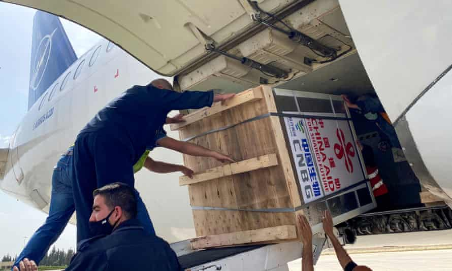 A batch of Covid vaccines arrive at the airport in Damascus, Syria, on 24 April.