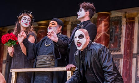 Ricky Champ as Tybalt, far right, in a production of Shakespeare's Romeo and Juliet at the Globe theatre in London.