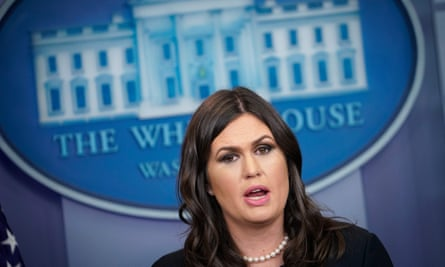 Sarah Sanders at the White House on Friday in Washington.