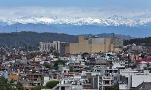 The snow-covered Pir Panjal mountain range