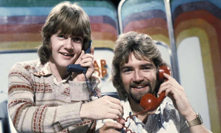 Keith Chegwin and Noel Edmonds phone some cats in the 70s.