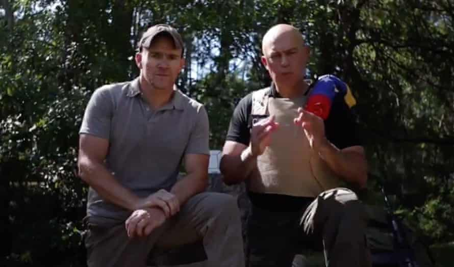 """Jordan Goudreau and Javier Nieto Quintero, shown on Venezuelan tv after the raid. """"Our units have been activated in the south, west and in the east of Venezuela,"""" he said, dressed in a golf shirt and standing next to a former Venezuelan national guard captain wearing body armour, Javier Nieto Quintero."""