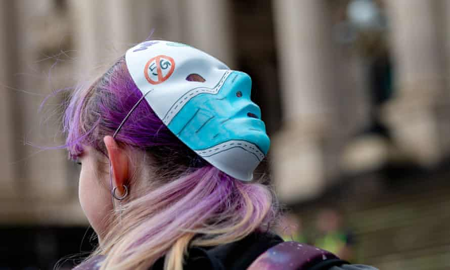 A protester against coronavirus restrictions in Melbourne. Hundreds defied Covid-19 social distancing measures at rallies in Melbourne, Sydney and Brisbane