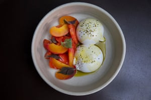 Burrata cheese with tomato, fermented peach and shiso by Clayton Wells