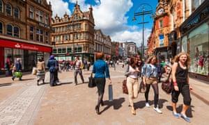 Shoppers in Leeds:
