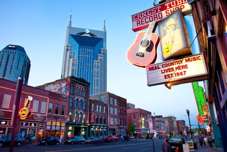 historic bars and honky-tonks along lower Broadway in Nashville Tennessee USA.