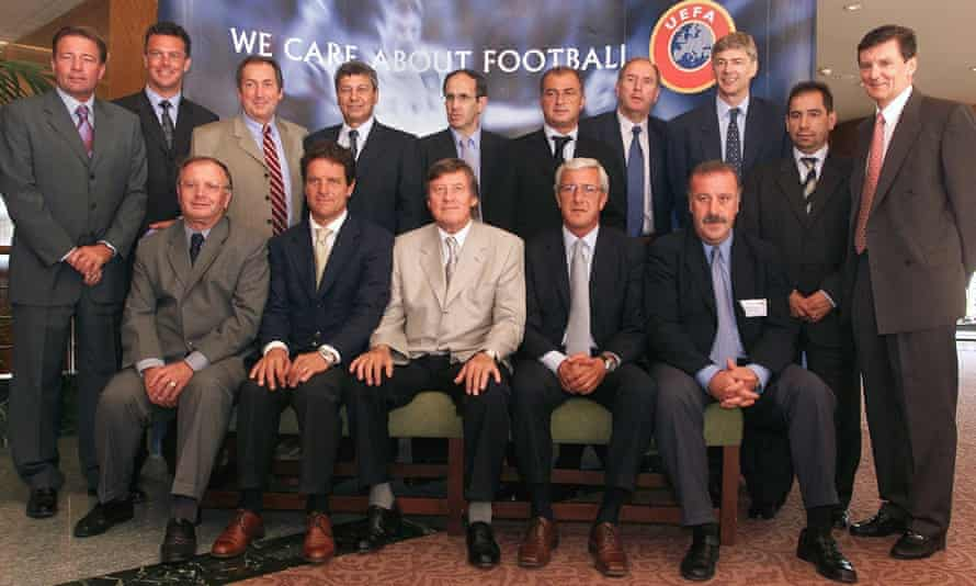 Jozef Venglos (bottom left, chairman of Uefa's football development committee in 2001, sits alongside some of Europe's finest coaches at a Uefa forum.