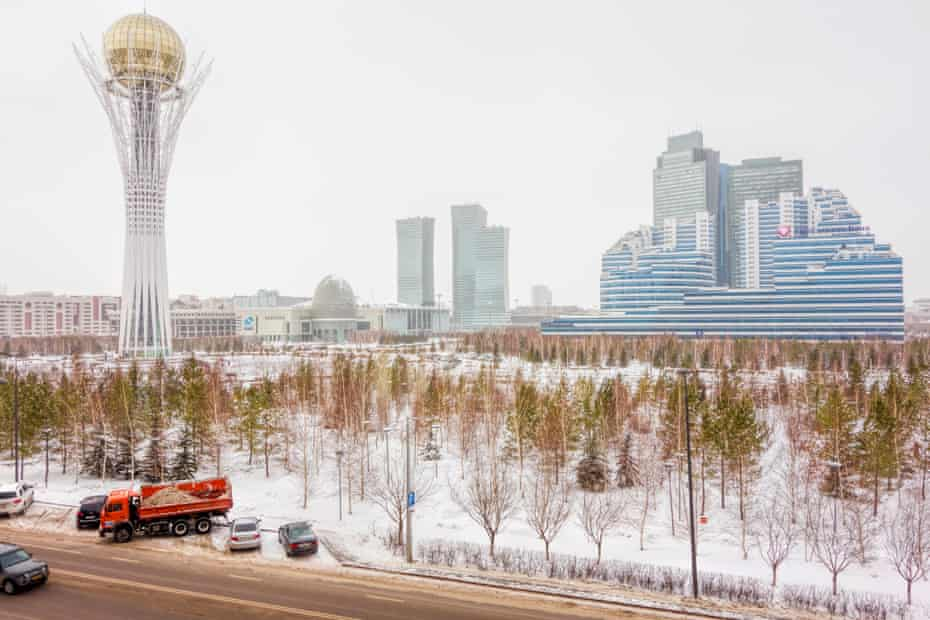 Can't see the wood for the freeze: trees in central Astana.