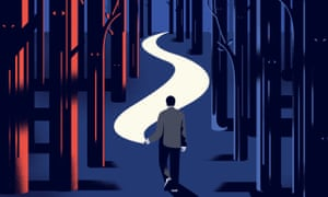 Illustration, of man following central path between red and blue forests, by: Nathalie Lees