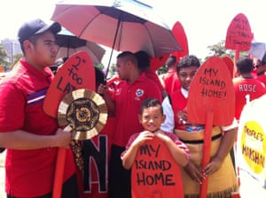 Members of Australia's Tongan community at the Sydney people's climate march.