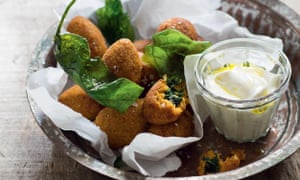 Butternut squash kibbeh stuffed with feta and spinach.
