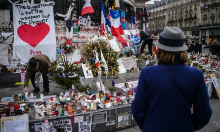 Floral tributes outside the Bataclan, one month after the Paris attacks.