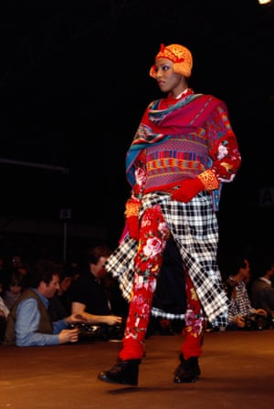 Skirts, trousers and a sweater – Kenzo's autumn-winter 1984 show was a riot of colour and knitwear