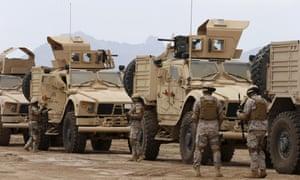Saudi Arabian troops in Yemen's southern port city of Aden.