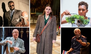 Clockwise form top left: Paapa Essiedu in Pinter One, Ophelia Lovibond in The Bay at Nice, Jade Anouka in The Phlebotomist, John Kani in Kunene and the King and Roger Allam in The Moderate Soprano.