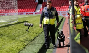 Sniffer dogs were used to search the ground after the alert
