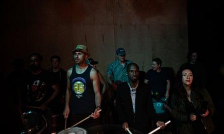 Members of SambaFunk! Funkquarians at a rehearsal.