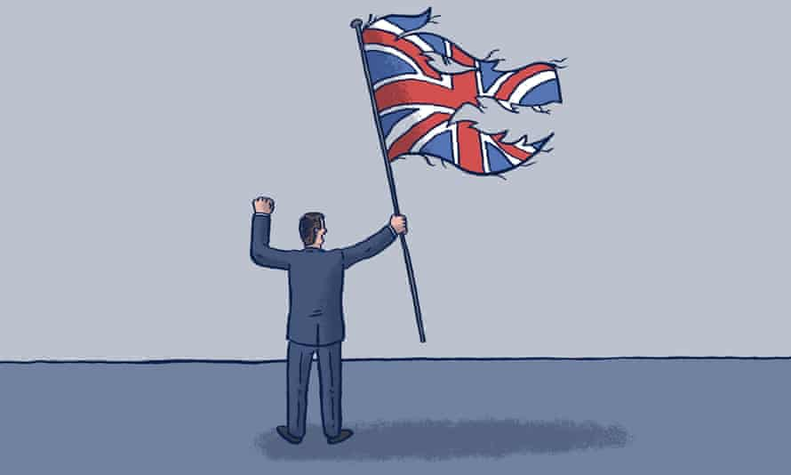 An illustration of a man holding a shredded union flag.
