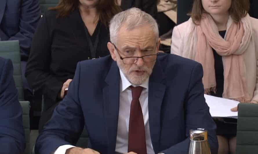 Jeremy Corbyn giving evidence to the Commons women and equalities committee.