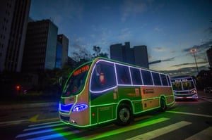 A bus decorated and illuminated for Christmas in São Paulo, Brazil