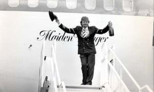 Richard Branson pictured in 1984 ahead of Virgin Atlantic's maiden flight.