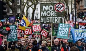 An anti-austerity march in London in 2016.