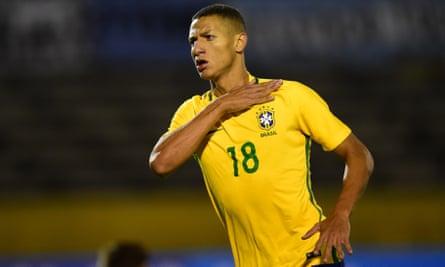 Brazil's Under-20 international Richarlison celebrates a goal against Argentina in February.