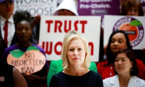 Kirsten Gillibrand, Democratic 2020 presidential candidate, at a roundtable discussion with abortion providers, health experts, pro-choice activists, and state legislators at the Georgia state house in Atlanta on 16 May.