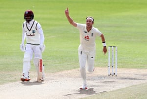 England's Stuart Broad v the West Indies in July.