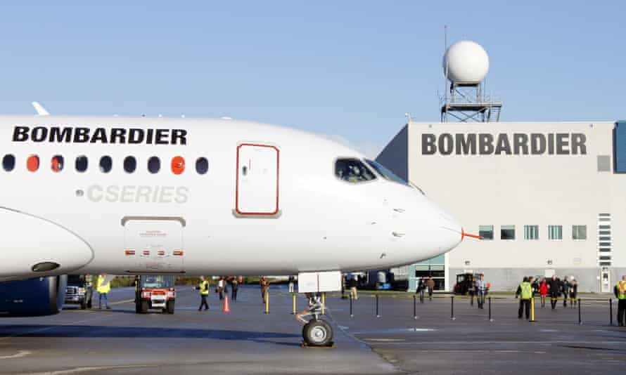 A Bombardier C Series jet at the company's plant in Mirabel, Quebec.
