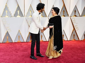 Actor Dev Patel and Anita Patel