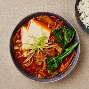 Meera Sodha's Tenderstem broccoli, tofu and kimchi stew.