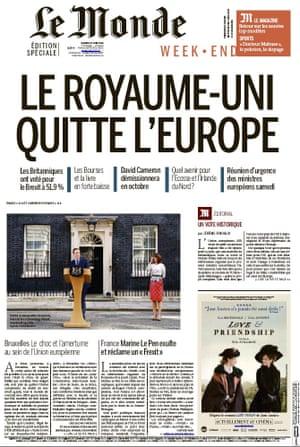 Le Monde newspaper front page 25 June 2016 European Referendum David Cameron resignation