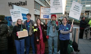 Junior doctors on strike at St Thomas' hospital, London