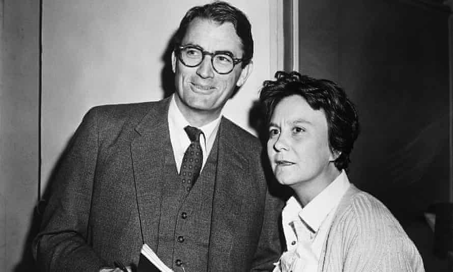 Harper Lee with Gregory Peck on the set of the film of To Kill a Mockingbird.
