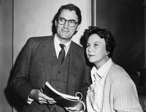 Gregory Peck and Harper Lee on set of the film. They became friends and Peck's grandson is named after her.